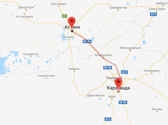 маршрут поезда Караганда - Астана