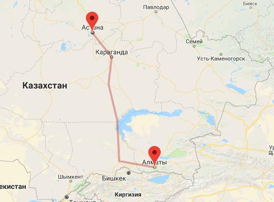 маршрут поезда Алматы - Астана