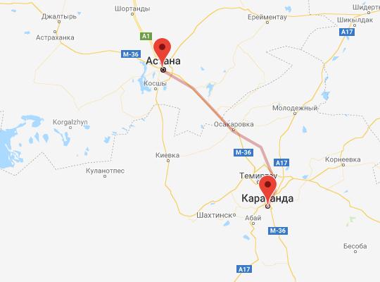 маршрут поезда Астана - Караганда
