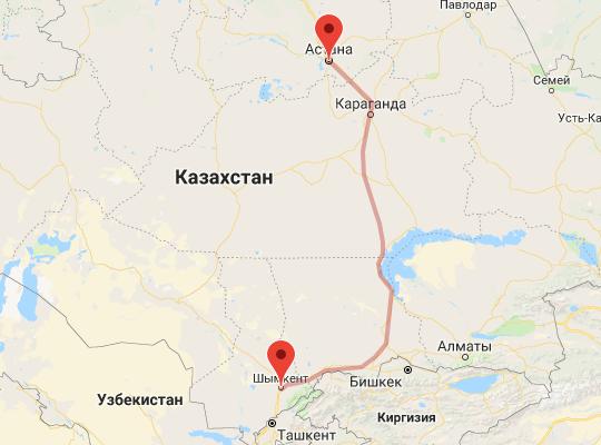 маршрут поезда Шымкент - Астана