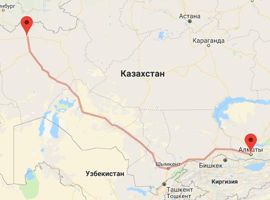 маршрут поезда Актобе - Алматы