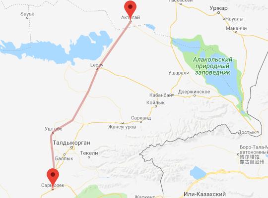 маршрут поезда Актогай - Сары-Озек