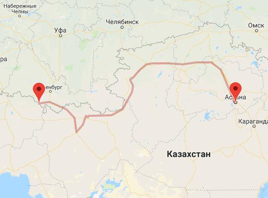 маршрут поезда Чингирлау - Астана