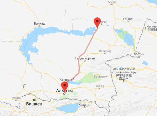 маршрут поезда Кокшалпин - Алматы