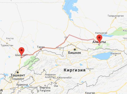 маршрут поезда Шымкент - Алматы