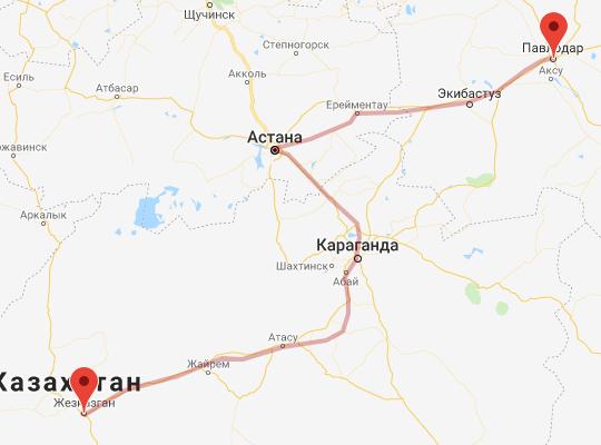 маршрут поезда Павлодар - Жезказган