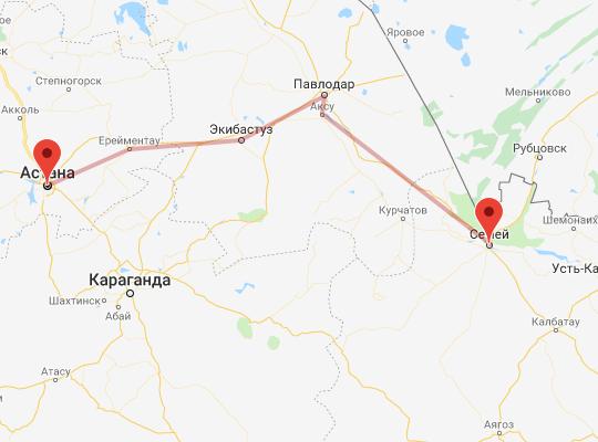 маршрут поезда Семей - Астана