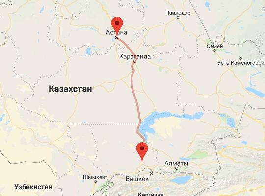 маршрут поезда Шу - Астана