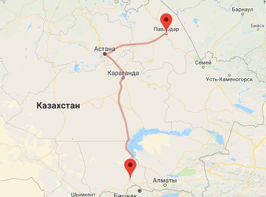 маршрут поезда Шу - Павлодар