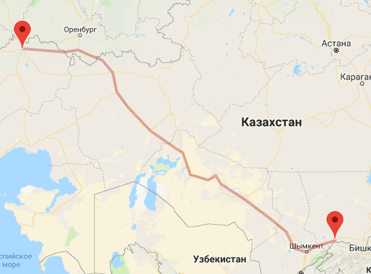 маршрут поезда Тараз - Уральск
