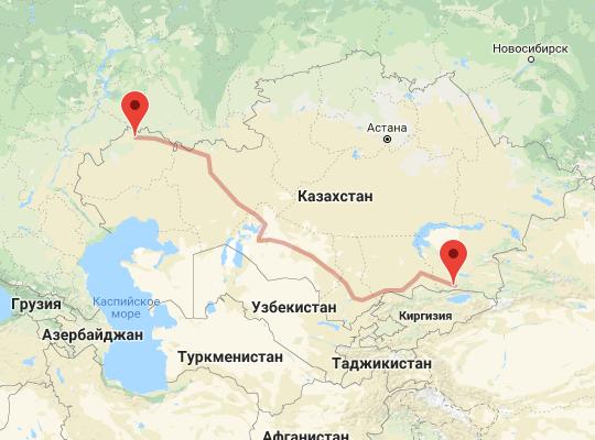 маршрут поезда Уральск - Алматы