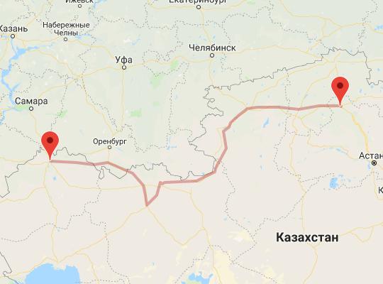 маршрут поезда Уральск - Кокшетау