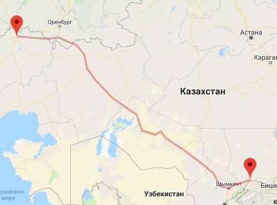 маршрут поезда Уральск - Тараз