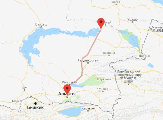 маршрут поезда Алматы - Кокшалпин