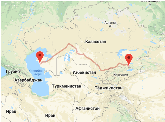 маршрут поезда Алматы - Мангистау и Актау