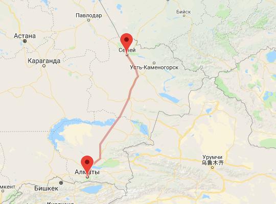 маршрут поезда Алматы - Семей