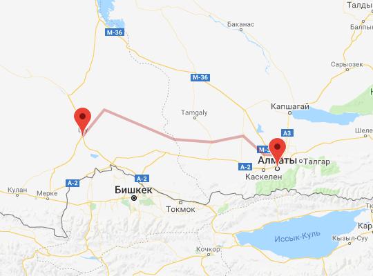 маршрут поезда Алматы - Шу