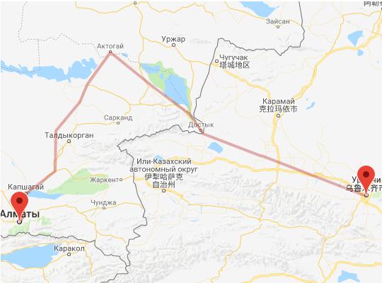маршрут поезда Алматы - Урумчи