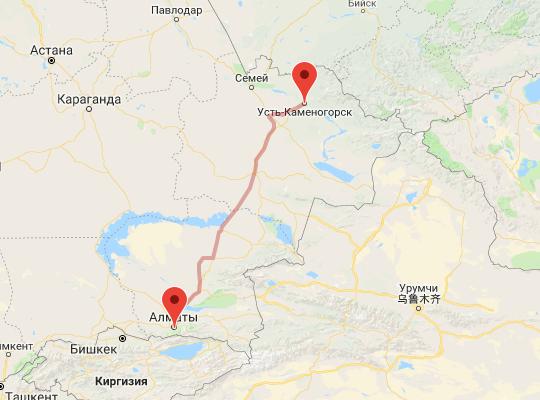маршрут поезда Усть-Каменогорск - Алматы
