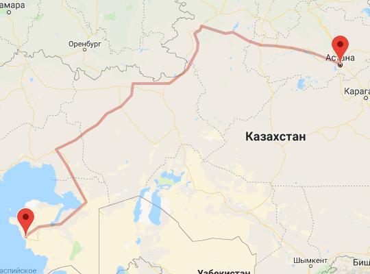 маршрут поезда Астана - Мангистау и Актау