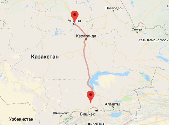 маршрут поезда Астана - Шу