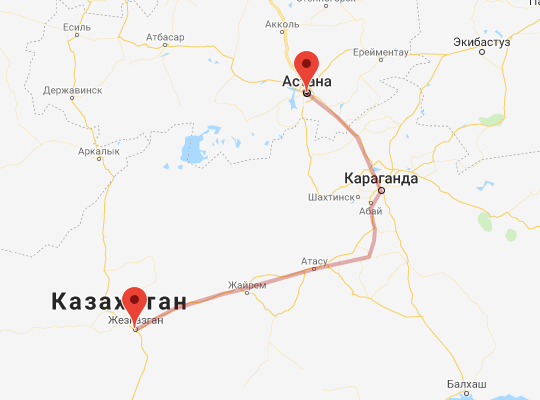 маршрут поезда Астана - Жезказган