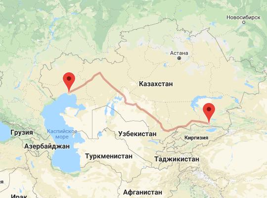 маршрут поезда Атырау - Алматы