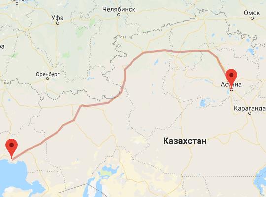 маршрут поезда Атырау - Астана