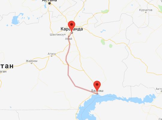маршрут поезда Балхаш - Караганда