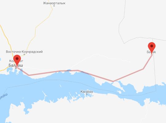 маршрут поезда Балхаш - Саяк