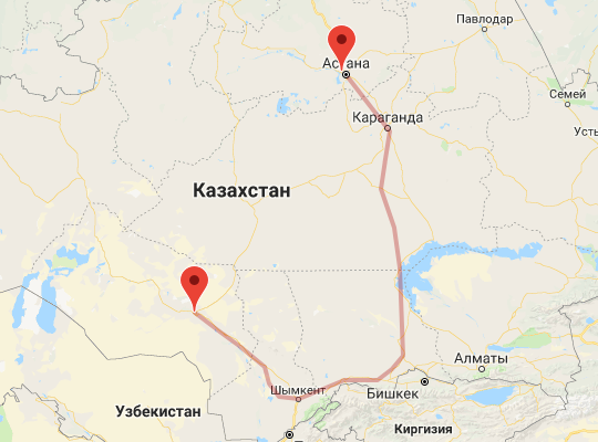 маршрут поезда Кызылорда - Астана