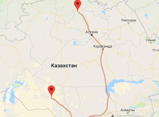 маршрут поезда Кызылорда - Кокшетау