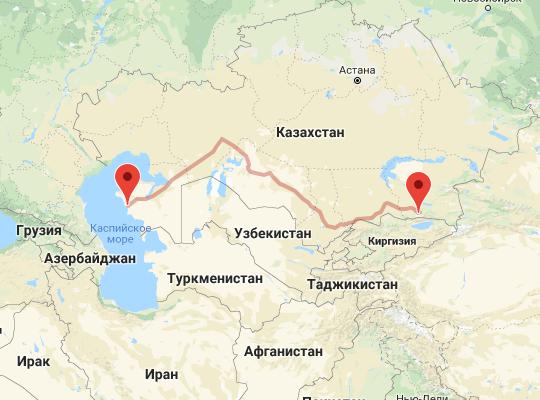 маршрут поезда Мангистау и Актау - Алматы