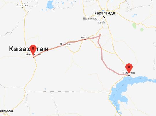 маршрут поезда Жезказган - Балхаш