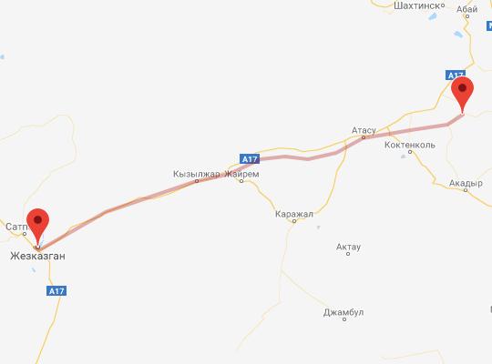 маршрут поезда Жезказган - Жарык