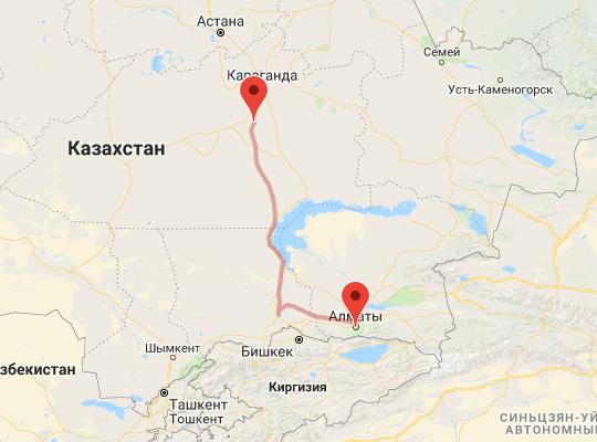 маршрут поезда Жарык - Алматы