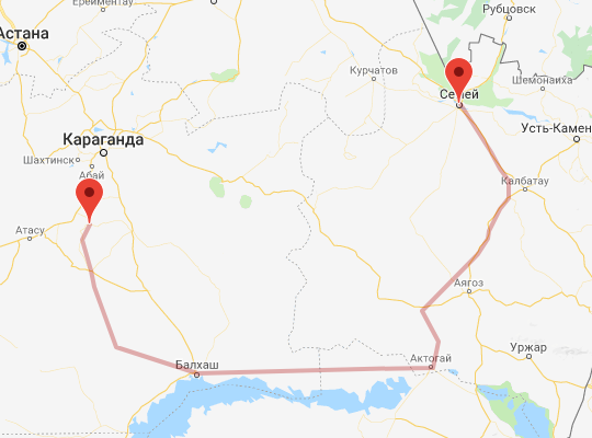 маршрут поезда Жарык - Семей