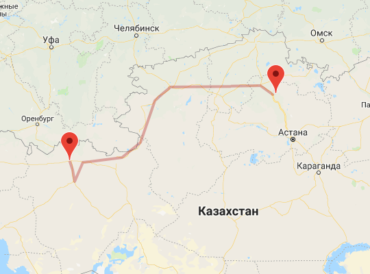 маршрут поезда Актобе - Боровое