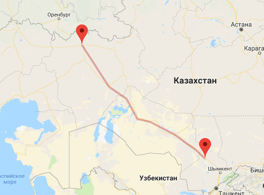 маршрут поезда Актобе - Туркестан