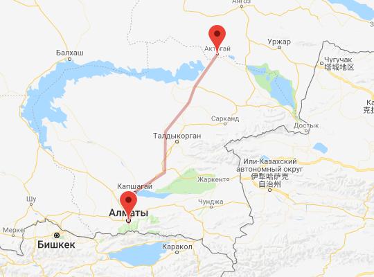 маршрут поезда Актогай - Алматы