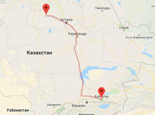 маршрут поезда Атбасар - Алматы