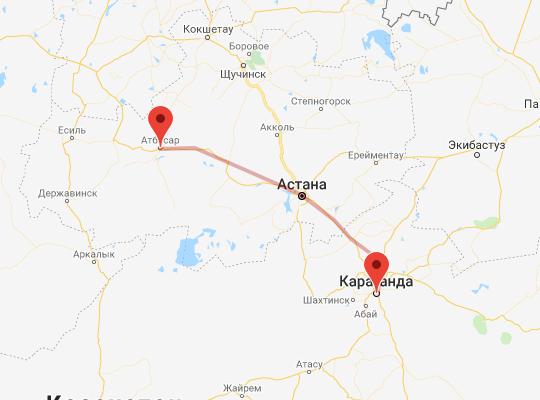 маршрут поезда Атбасар - Караганда
