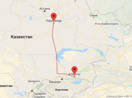 маршрут поезда Караганда - Алматы