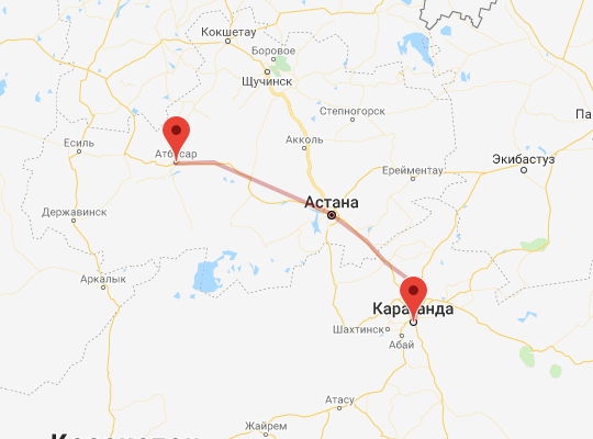 маршрут поезда Караганда - Атбасар