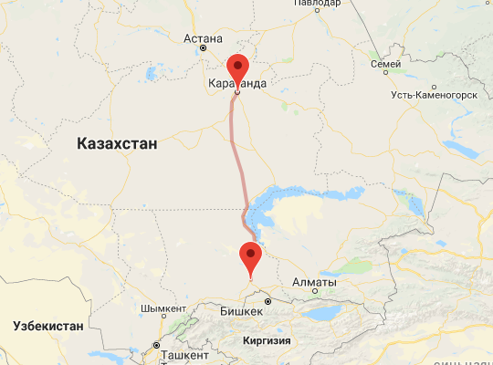 маршрут поезда Караганда - Шу