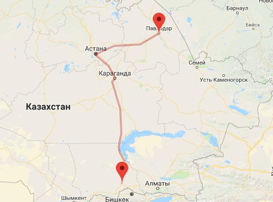 маршрут поезда Павлодар - Шу