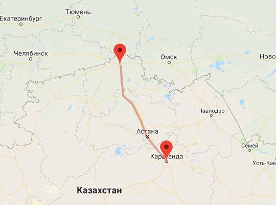 маршрут поезда Петропавловск - Караганда