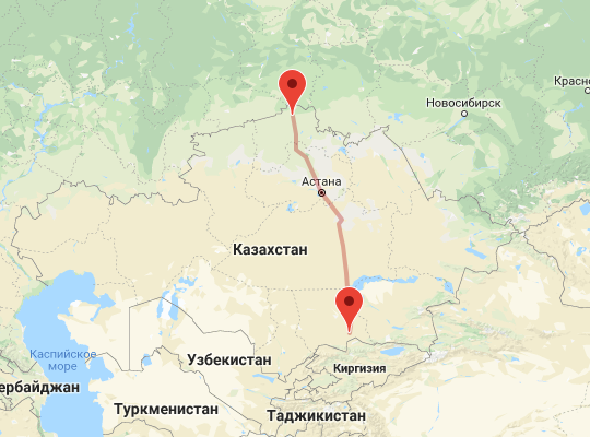 маршрут поезда Петропавловск - Шу
