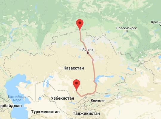 маршрут поезда Туркестан - Петропавловск