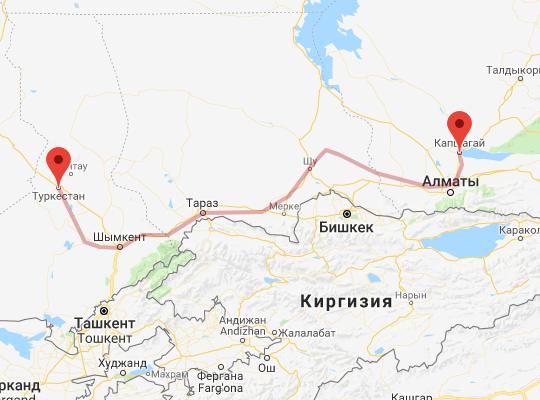 маршрут поезда Туркестан - Капшагай